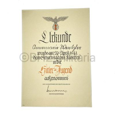 Urkunde Aufnahme Hitlerjugend 1941