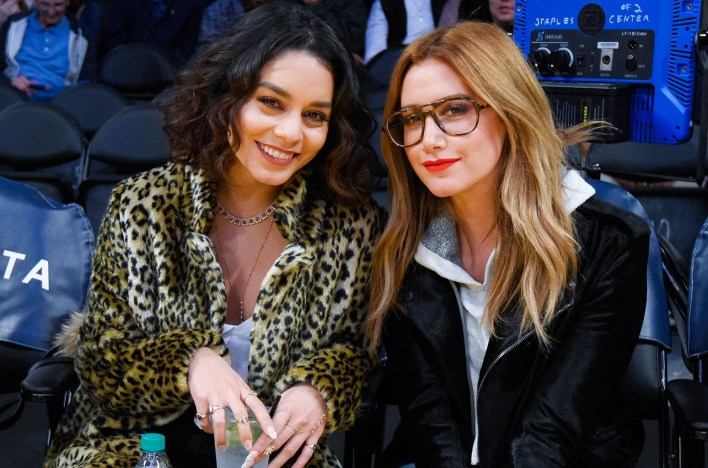 Vanessa Hudgens and Ashley Tisdale at Staples Center on Jan. 15, 2017 in Los Angeles.