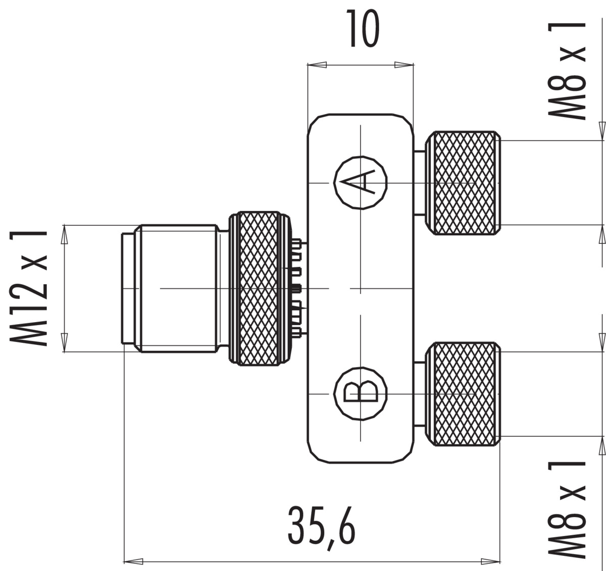 Double Distributor Male Connector M12x1