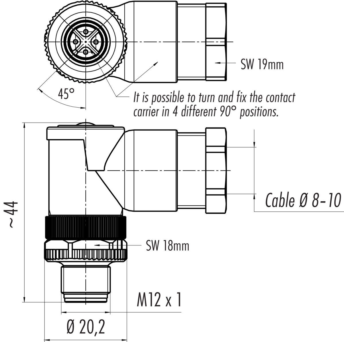 Male Angled Connector Power Screw Terminal Connection