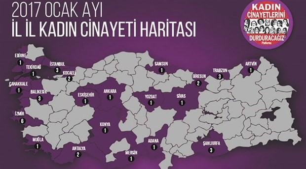 Ocak ayında 37 kadın öldürüldü