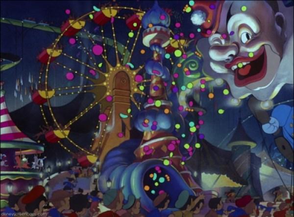 Fête foraine dans Pinocchio, des studios Disney (1940)