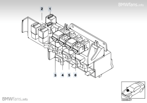 Relay positioning, behind glove box BMW 3' E46, M3 (S54