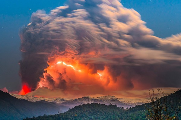 Photographer Captures Volcanic Eruption In Chile With Red ...