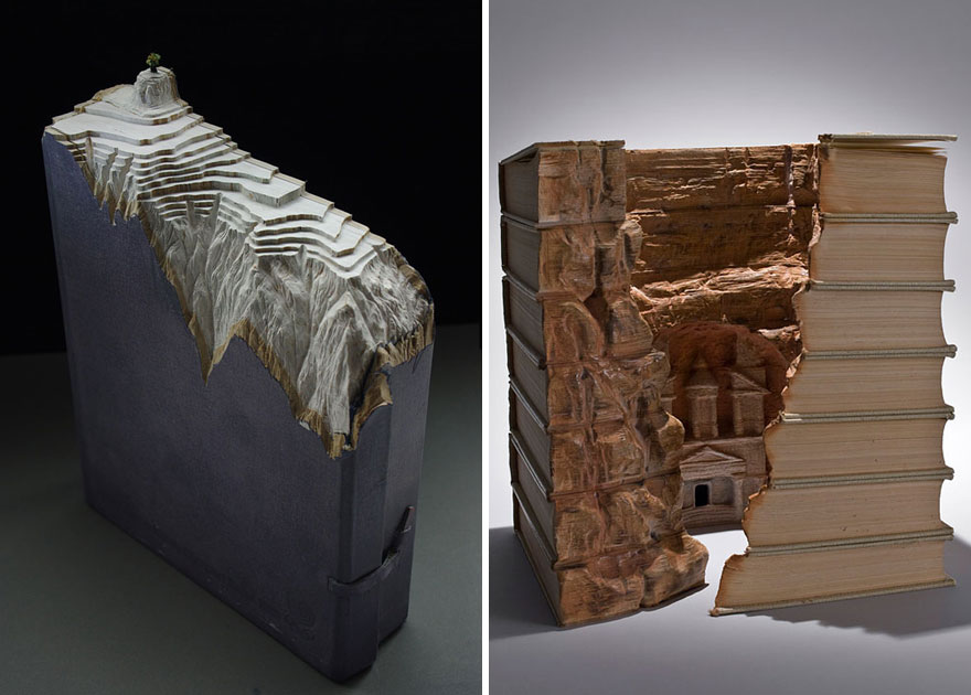 Landscapes Which Are Made By Carving Old Books
