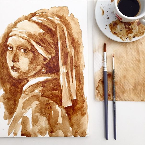 Coffee Art Girl with Pearl Earring Fine Art Portrait by Maria Aristidou Paintbrushes Coffee Cup