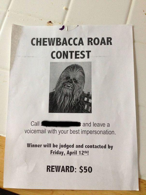 Chewbacca Roar Contest