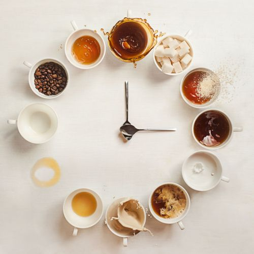 Still Life Photography Dina Belenko Folded Story It's Always Coffee Time Coffee Cups Clock Spoons Clock Hands Spoon Coffee Ring Coffee Beans Sugar Cubes Desktop Stories