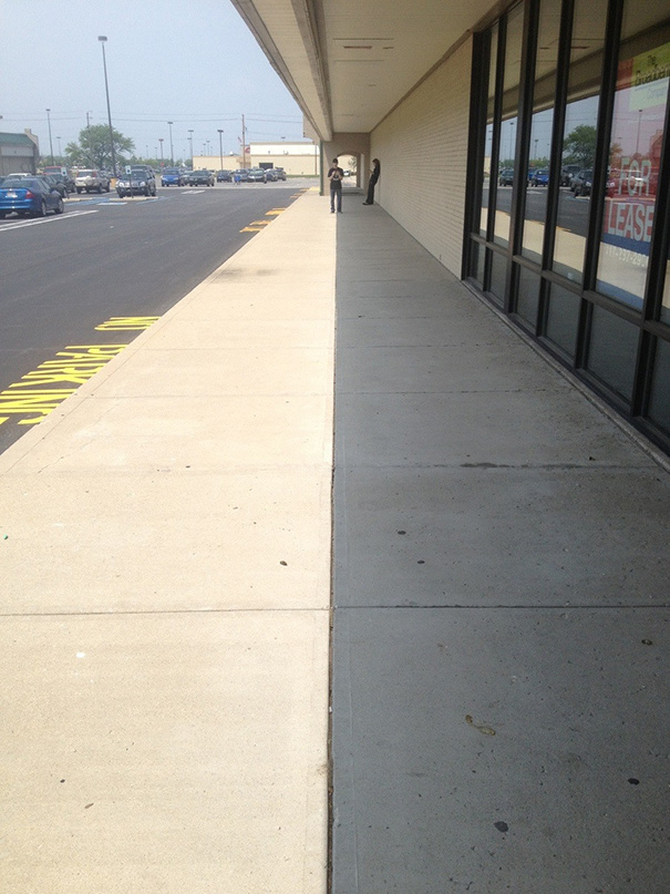 Shadow Lines Up Perfectly With The Sidewalk