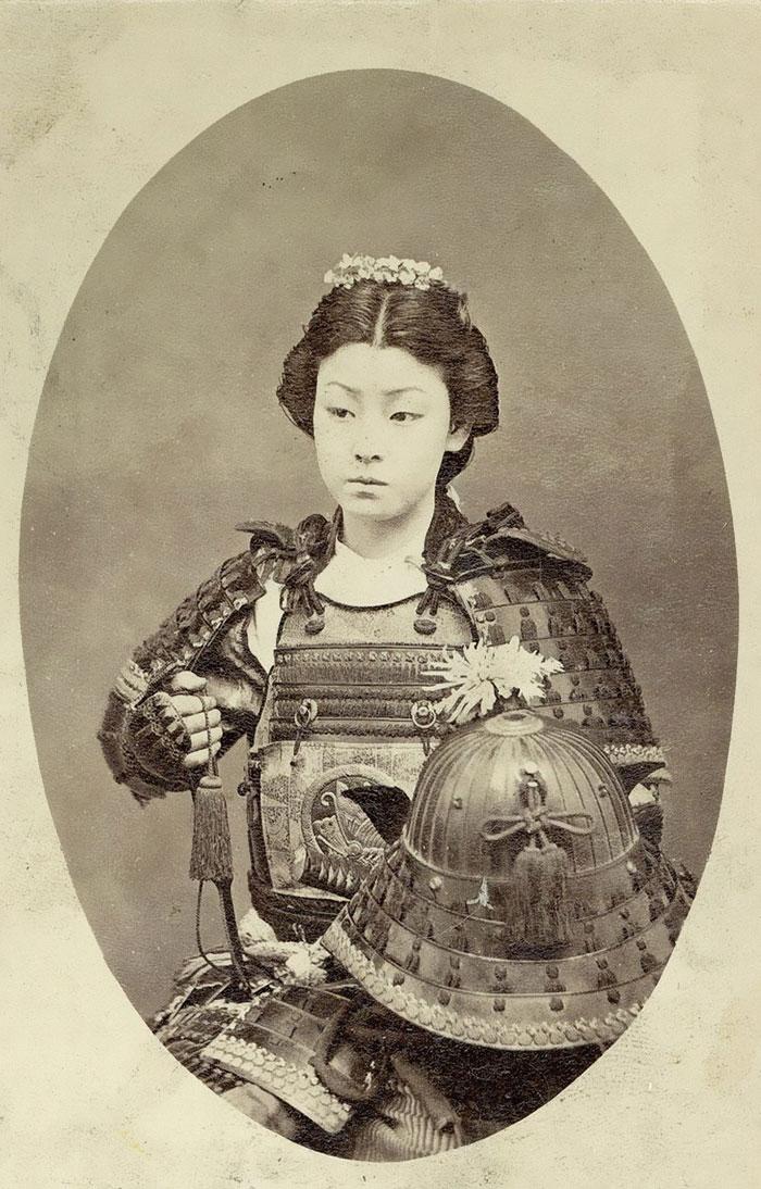 One Of The Onna-Bugeisha, Female Samurai Warrior Of The Upper Bushi (Samurai), Class In Feudal Japan (Late 1800's)