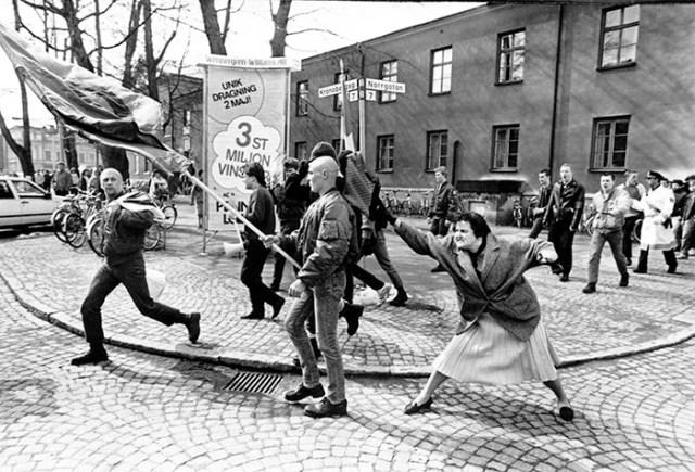 A Woman Hitting A Neo-Nazi With Her Handbag In Växjö, Sweden (13 April, 1985)