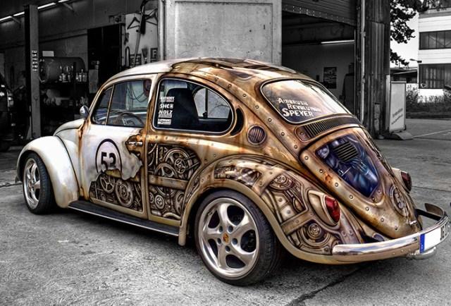 Steampunk paint job on a VW Beetle