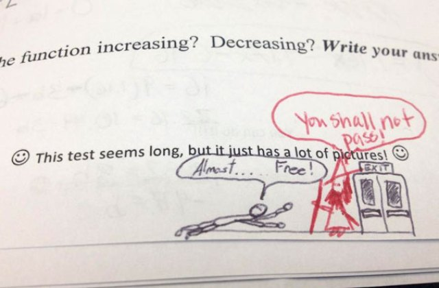 Friend Of Mine's Math Teacher Responds To A Doodle He Drew On His Test