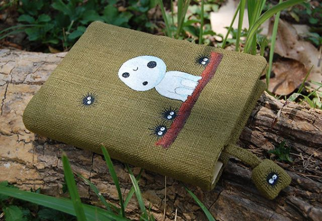 Notebook With Kodama From Princess Mononoke Hand Painted On Green Cotton