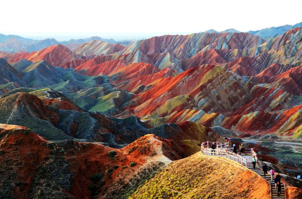 Colourful Rock Formations In The Zhangye Danxia Landform Geological Park, China