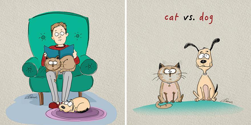 gatos-vs-cães-funny-ilustrações-bird-nascidos de 1
