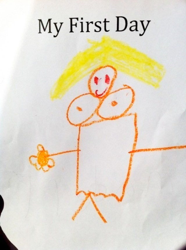 My Kid's Drawing About Her First Day Of Kindergarten. It's Her Teacher
