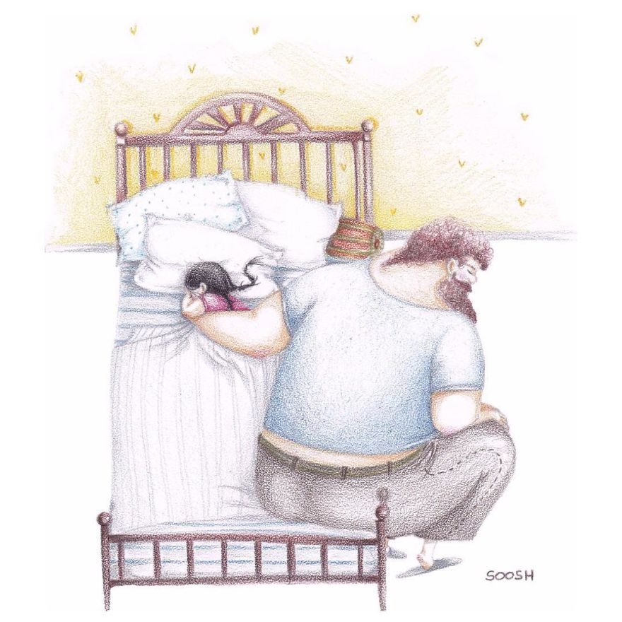 Sweet Pictures About Love Between Dad and Little Girl 5704ca57500a5  880 - 아빠와 딸의 사랑을 보여주는 따뜻한 일러스트 (사진 13장)