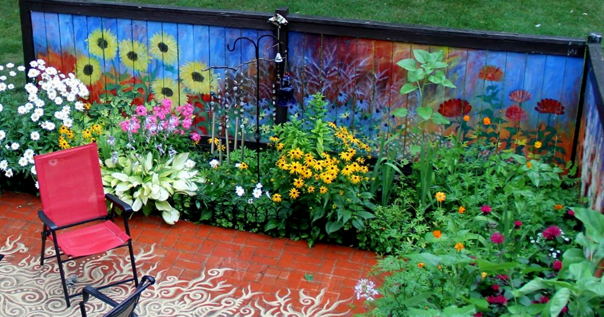I Revived Our Old Garden Fence By Painting Vivid Flowers ... on Backyard Wall Decor Ideas  id=55169