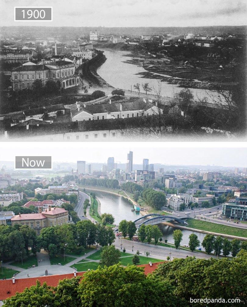 Vilnius, Lituânia - 1900 e agora