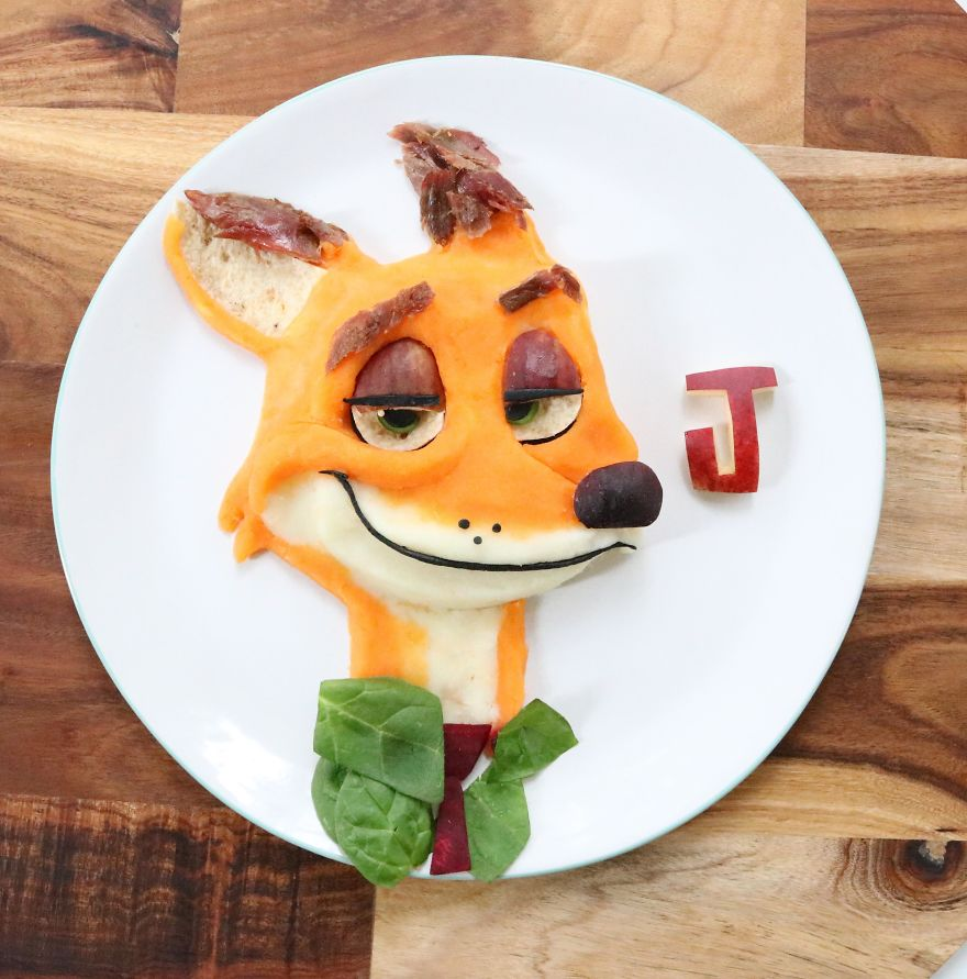 Nick Wilde From Zootopia. Lamb Shanks With Sweet Potato Mash, Spinach, Beetroot, Figs And Wholemeal Wrap