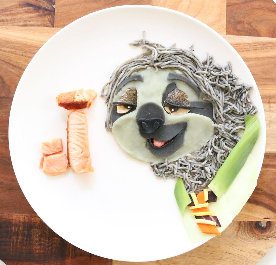Flash From Zootopia. Noodles With Salmon