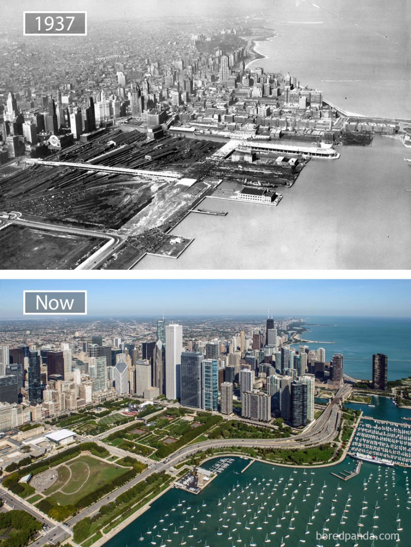 Chicago, Usa 1937 And Now