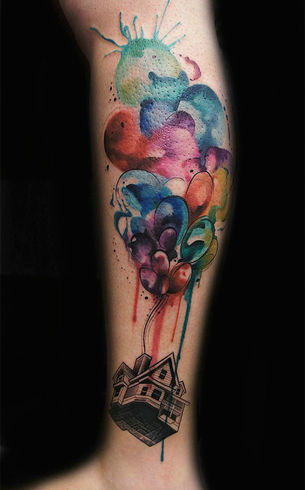Up Watercolor Tattoo