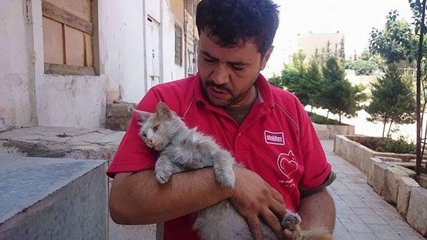 cat-man-aleppo-syria-2 Kasih Sayang Seorang Pria Terhadap Kucing, Membuatnya Tetap Bertahan Tinggal di Zona Peperangan