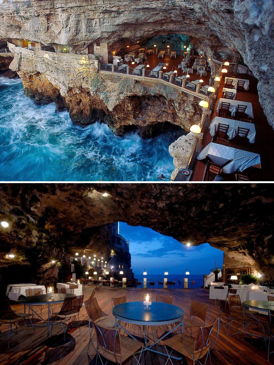 Dine In The Cave, Ristorante Grotta Palazzese, Puglia, Italy