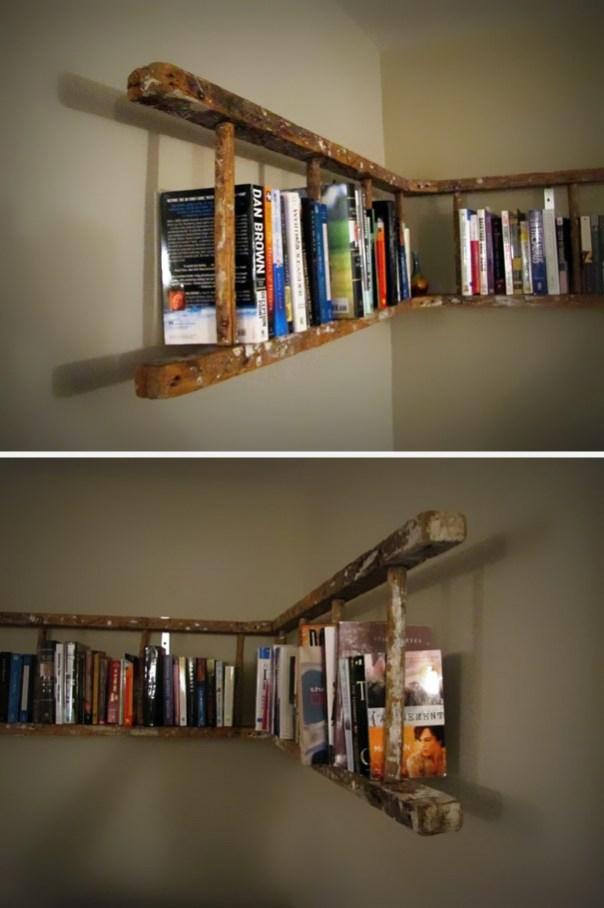 Usted puede convertir una vieja escalera en un estante