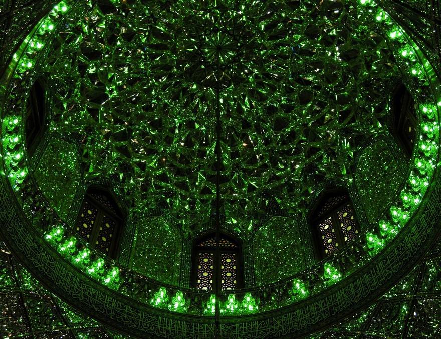 emerald-tomb-ceiling-shah-cheragh-shiraz-iran-9