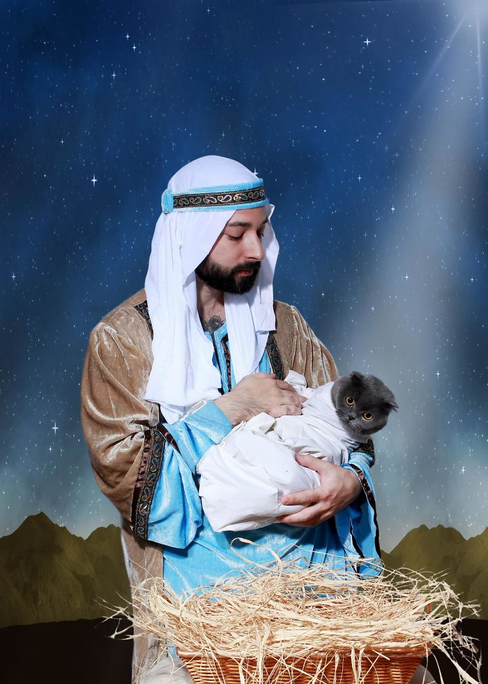 "Me And My Cat's Christmas Card Was Deemed ""Sacrilegious"""