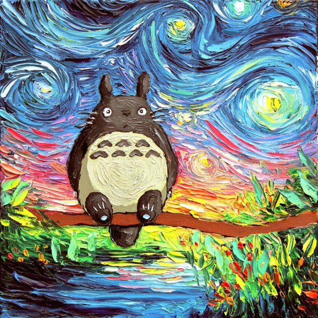Totoro Starry Night Oil painting by sagittariusgallery