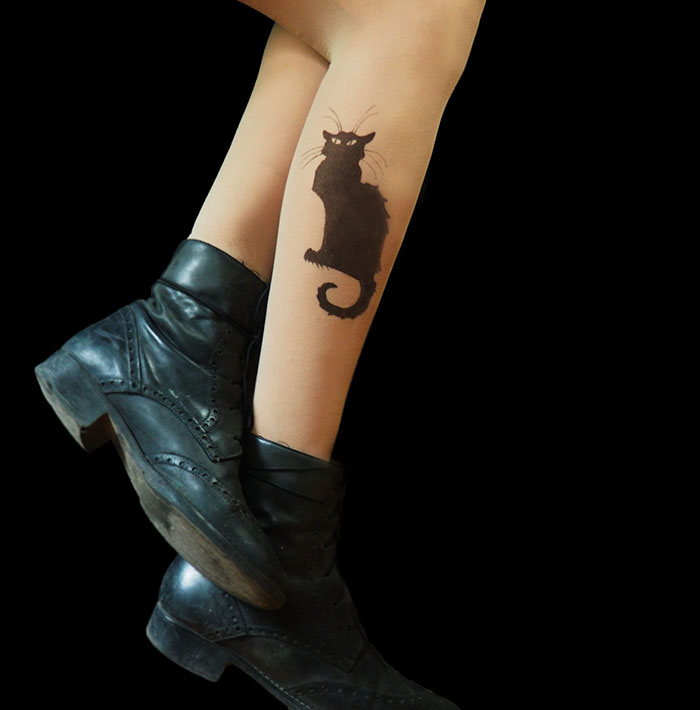 Chat Noir Cat Tattoo Tights