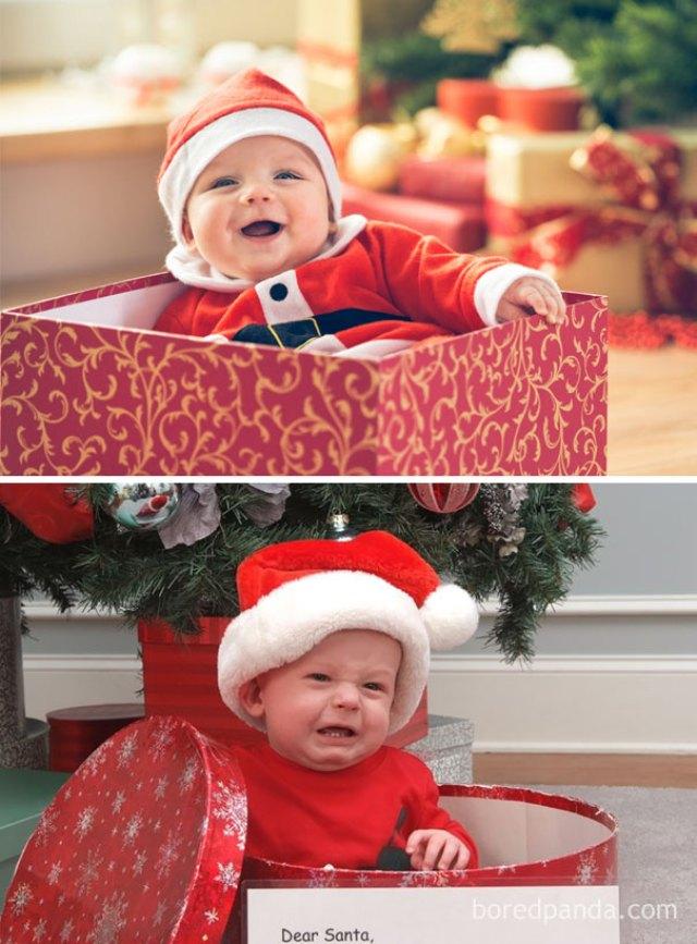 Expectation Vs Reality Christmas Baby Photo Shoot Fails Light