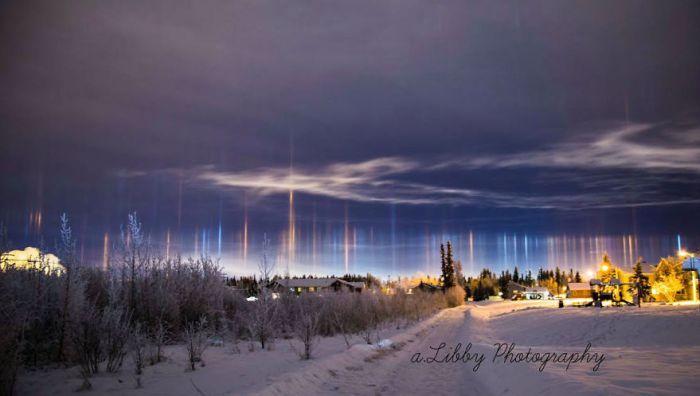 Pilastri luce su Alaska