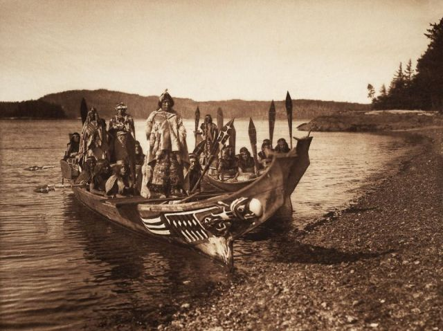 A Kwakiutl wedding party arrives in canoes, 1914