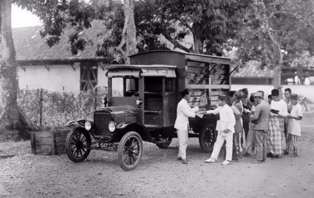 A Bookmobile In Indonesia, Early 20th Century.