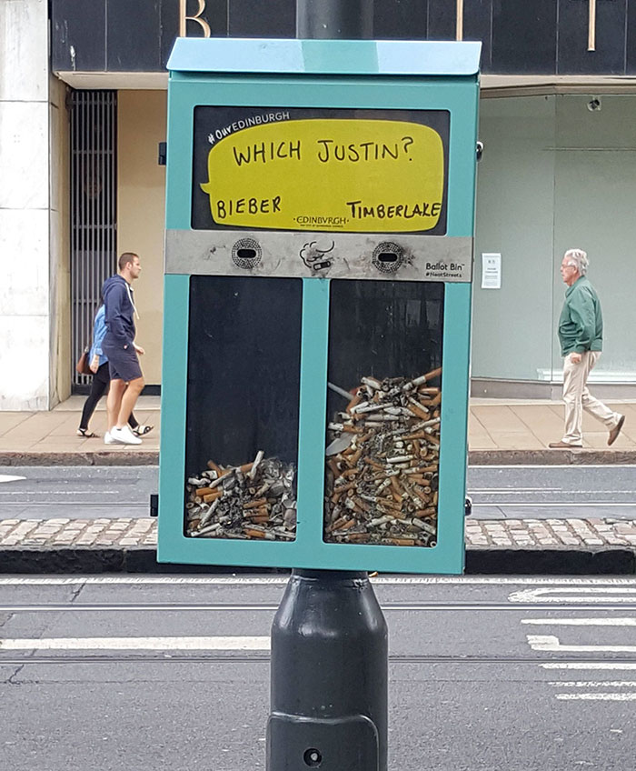 This Bin That Lets You Vote For Things With Cigarette Butts In Edinburgh