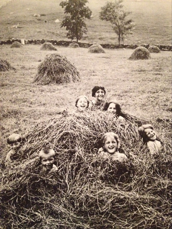 A Group Of Children In The Middle Of A Haystack In A Field In Pawling, New York, Early 20th Century