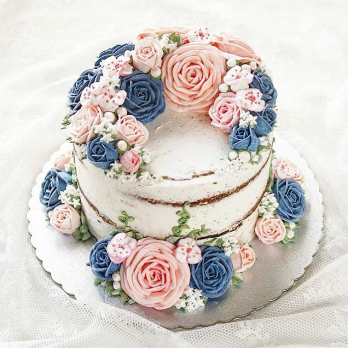 Άνοιξη-πολύχρωμο-buttercream-λουλούδι-κέικ