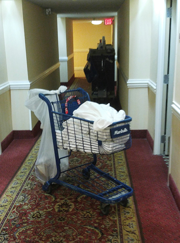 The Housekeeping Cart At My Hotel Is A Stolen Shopping Cart