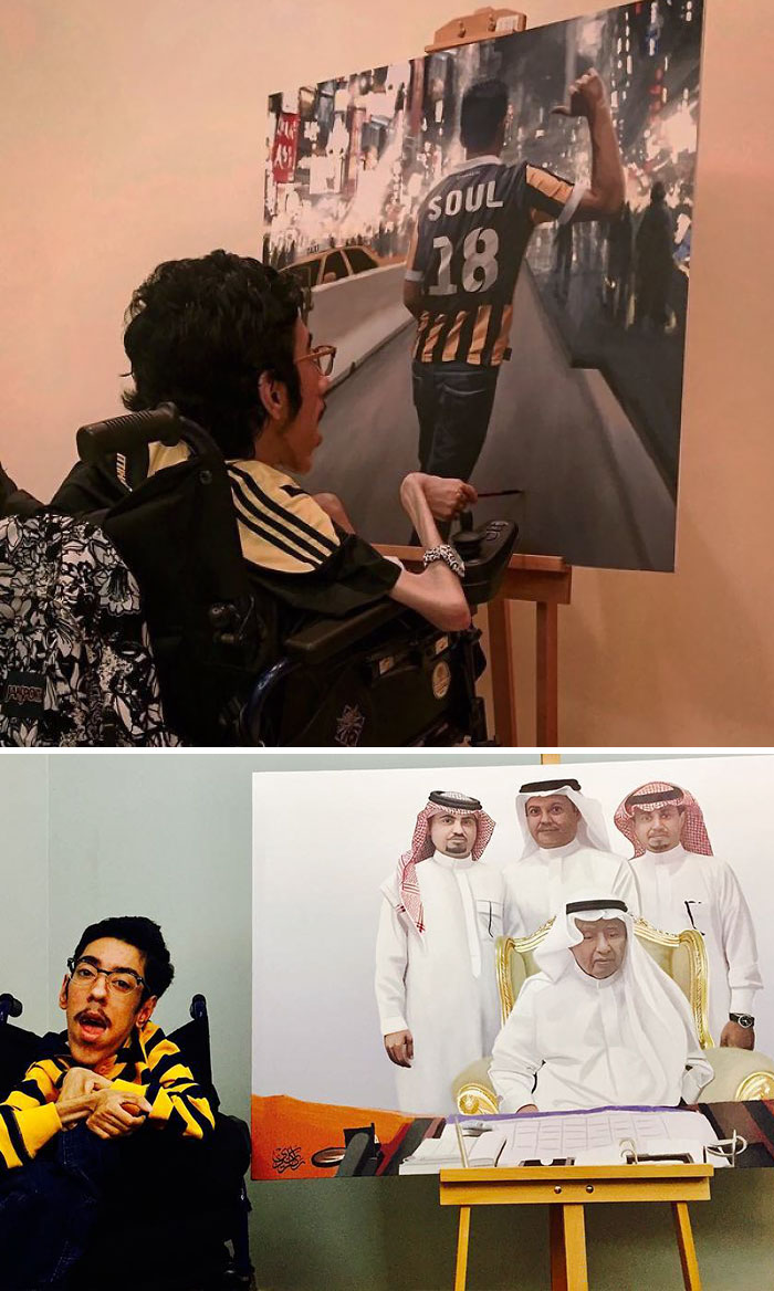Rakan Abdulaziz Kurdi Proves That Disability Is Not A Limit By Creating These Realistic Paintings