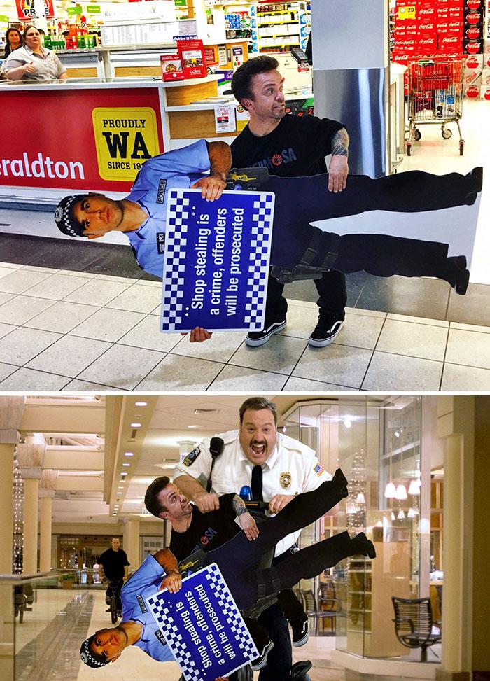 Cop Stealing A Wee Man Stealing A Cutout Of A Cop