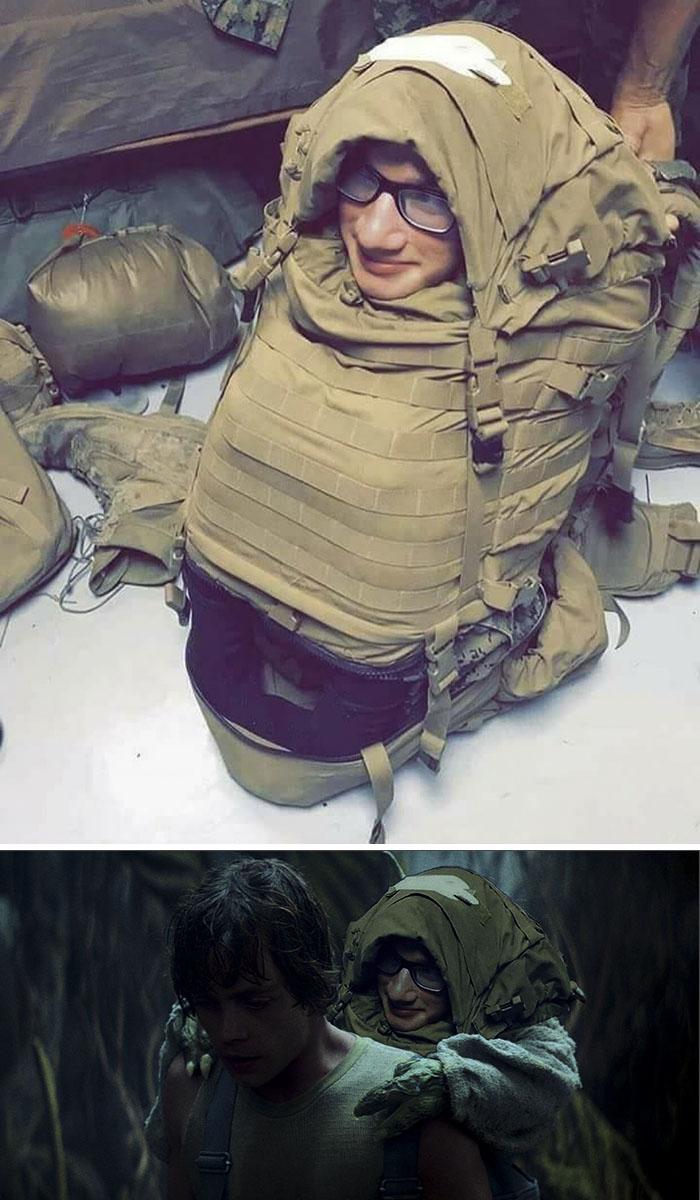U.s. Marine Stuffed Into Backpack