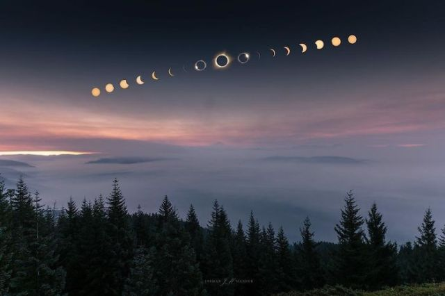 The Great American Eclipse As Seen From Oregon. Millions Of People Gathered To The Narrow Path Of Totality To Witness One Of The Most Epic Astronomical Phenomenons Of The Century