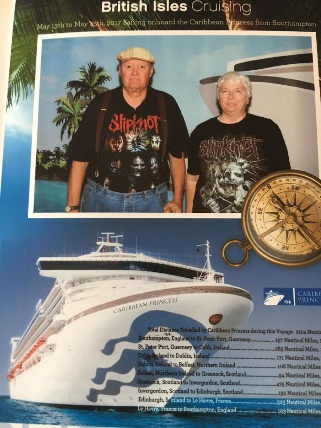 My Father-In-Law (73) And Mother-In-Law (70) Went On A Cruise A Few Weeks Ago. This Was Their Embarkation Photo