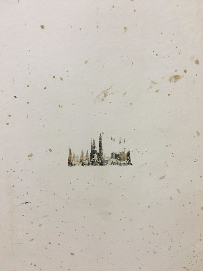Something Bumped Against A Wall At Work And Made A Painting Of A Snowy Town