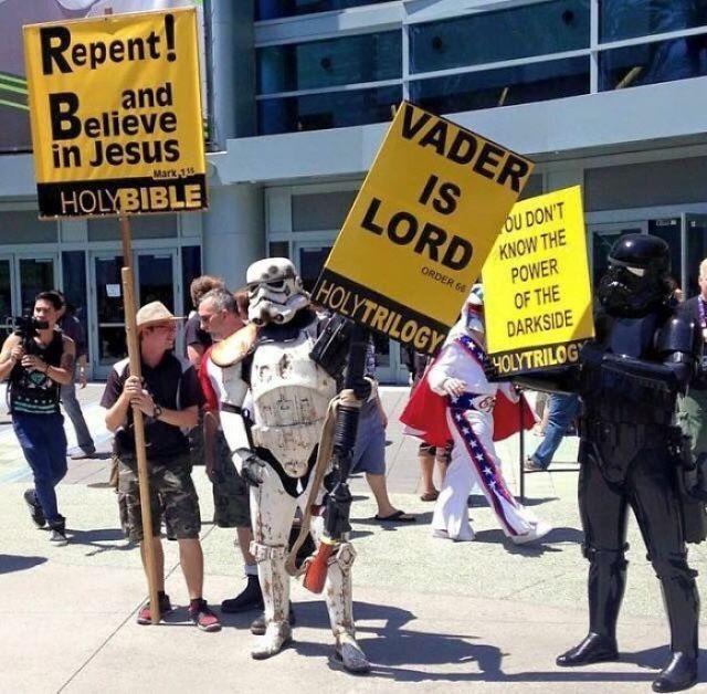 Arrepiéntete y cree en Jesús / Vader es nuestro señor / No conoces el poder del lado oscuro